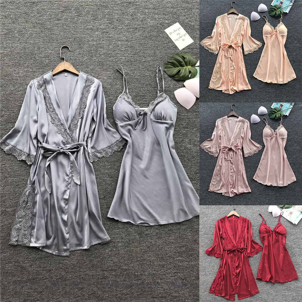Women's  Sleepwear Robe & Gown Sets Sexy Lace Sleep Lounge Pijama Long Sleeve Ladies Nightwear Bathrobe Night Dress robe set A4