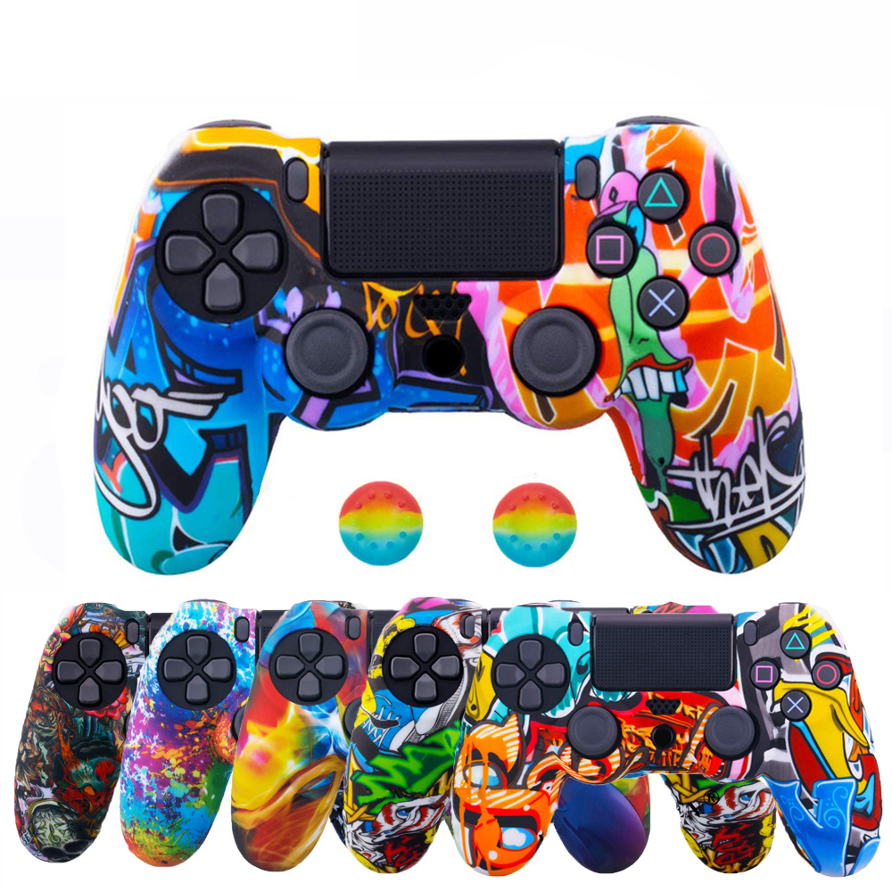 ZOMTOP For Sony Dualshock 4 PS4 DS4 Slim Pro Controller Silicone Camo Case Protective Skin + Thumb Grip Caps for Play Station 4(China)