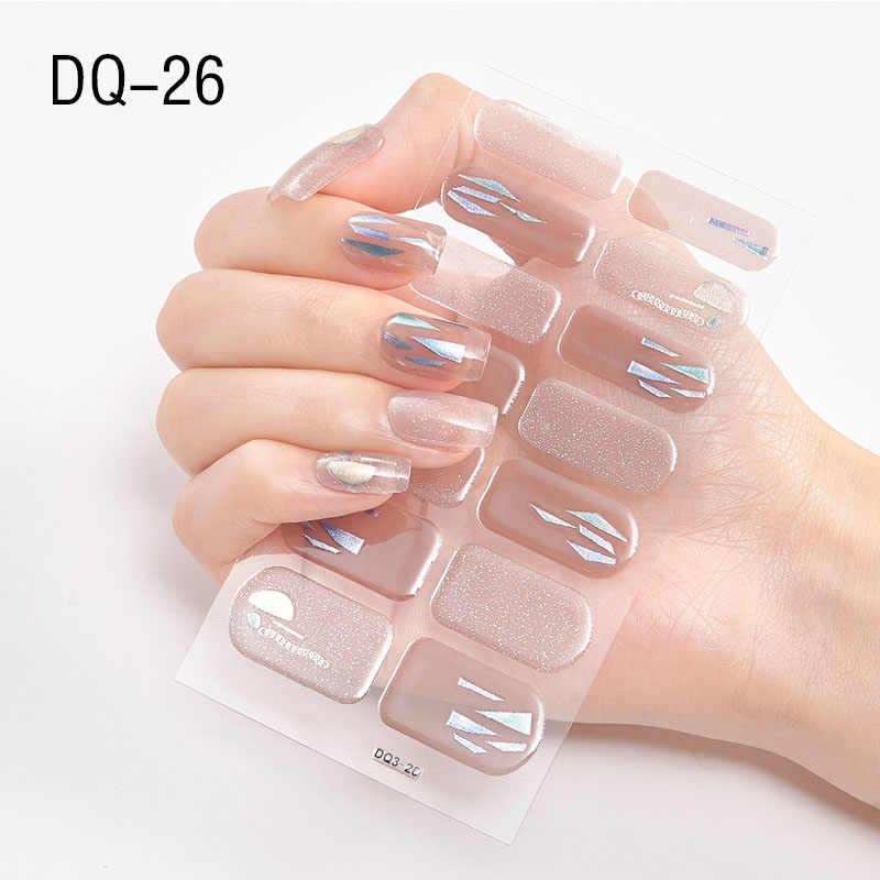 1 arkusz serii DQ ultra-cienki paznokci artystyczne naklejki brokat naklejki samoprzylepne DIY suwak okłady paznokci papieru palec dekoracja do manicure