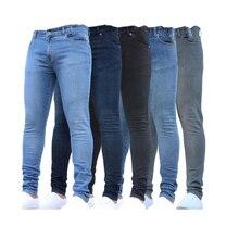 Мужчины% 27 Джинсы Сращивание Рваные Джинсовая ткань брюки карандаш Джинсы Slim Брюки брюки резинка линия талии Ретро британский стиль карандаш брюки
