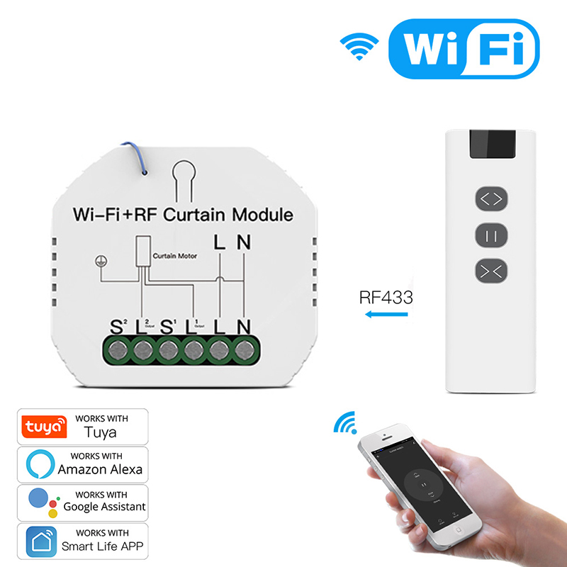 WiFi RF 433 Smart Curtain Blinds Module Switch Roller Shutter Motor Tuya Wireless Remote Control Work With Alexa Google Home