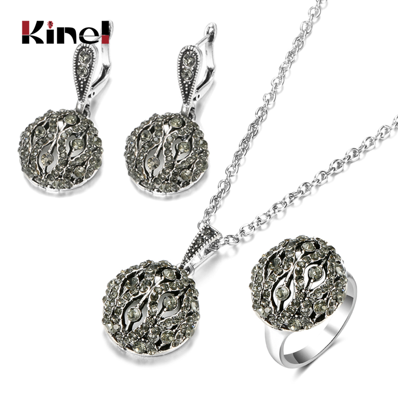 Kinel Vintage Jewelry Set Bohemian Hollow Crystal Flower Drop Earring Pendant Necklace For Women Long Chain Ethnic Rings Gifts