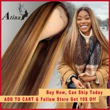 Ombre Highlight Human Hair Wig Brown Honey Blonde Colored 13x6 Lace