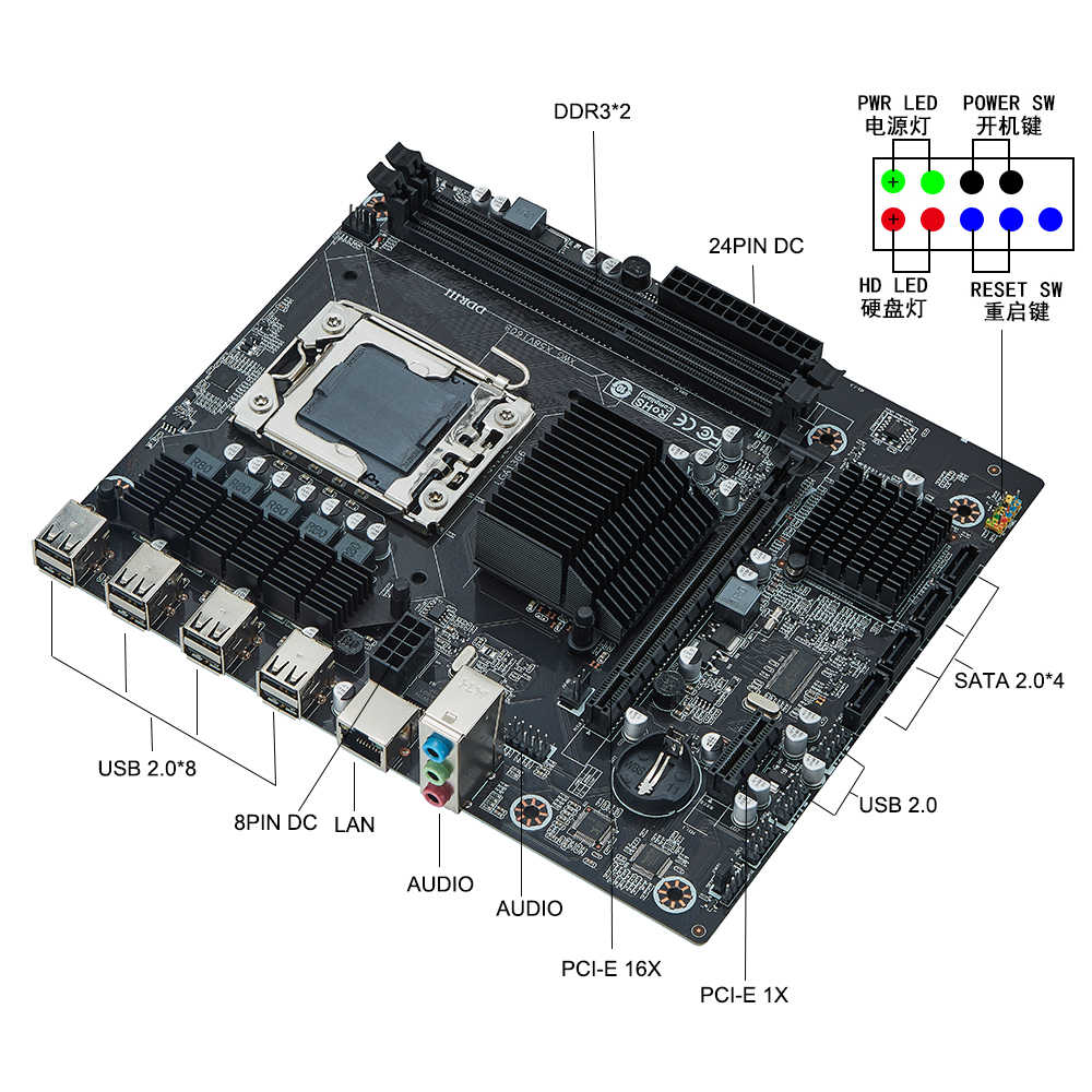 Conjunto de placa-mãe x58 xlga1366, kit com processador intel xeon x5650 e 16gb (2 peças * 8gb) memória ram ecc ddr3 12800r, 1600mhz