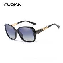 FUQIAN Brand New Oversize Diamond Polarized Women Sun Glasses Fashion Design Female Sunglasses Hollow Temple Eyewear