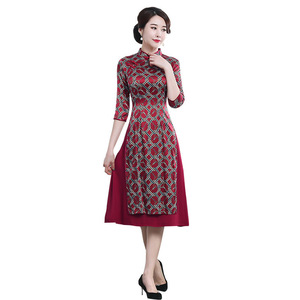 Image 5 - Quinceanera Promotion Knee length High Autumn 2020 New Chinese Knot Silk Cheongsam Fashion Improved Retro Aodai Dress Woman