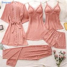 Daeyard 5 шт. льда шелковый халат, ночная рубашка для женщин пикантные кружевные Сатиновые пижамы; Одежда для сна; Комплект Модный рисунок в горо...
