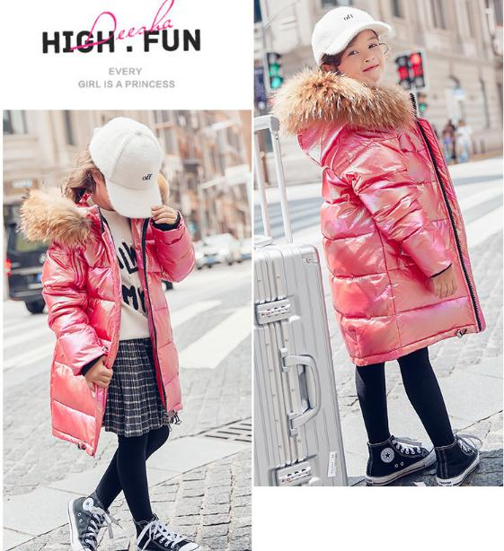 Girl's down fashion hooded jacket kid's black warm down long coat