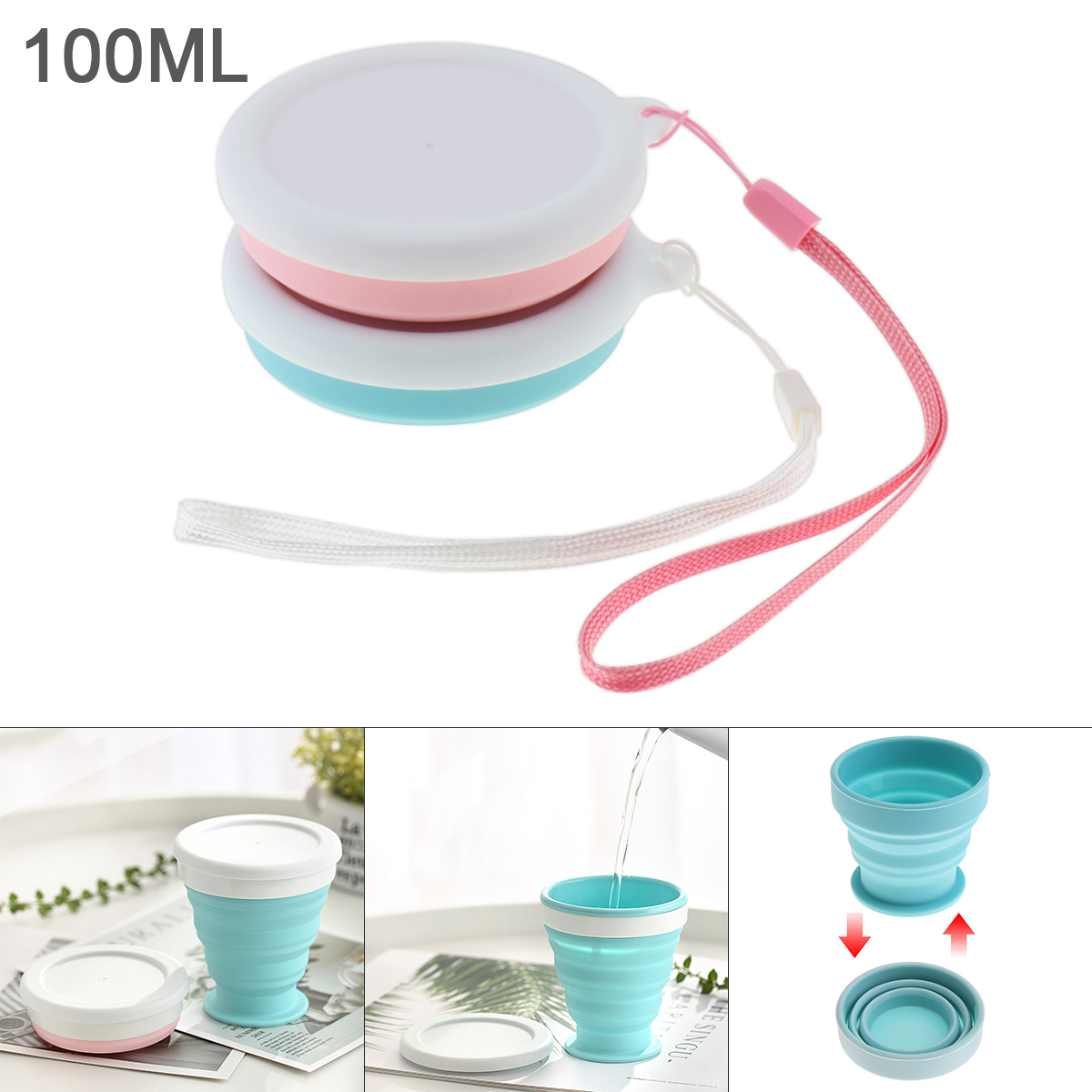 100ML 2 Colors Portable Circular Scalable Silicone Folding Cup with  Tether for - 50 Centigrade ~ 200