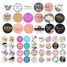 500PCS Round Labels Handmade Kraft Paper Packaging Sticker for Candy Dragee Bag Gift Box Packing Bag Wedding Thanks Stickers