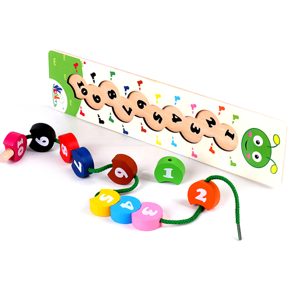Wooden Toys Baby DIY Craft Toy Number Caterpillar Stringing Threading Wooden Blocks Beads Toy Monterssori Educational Toy