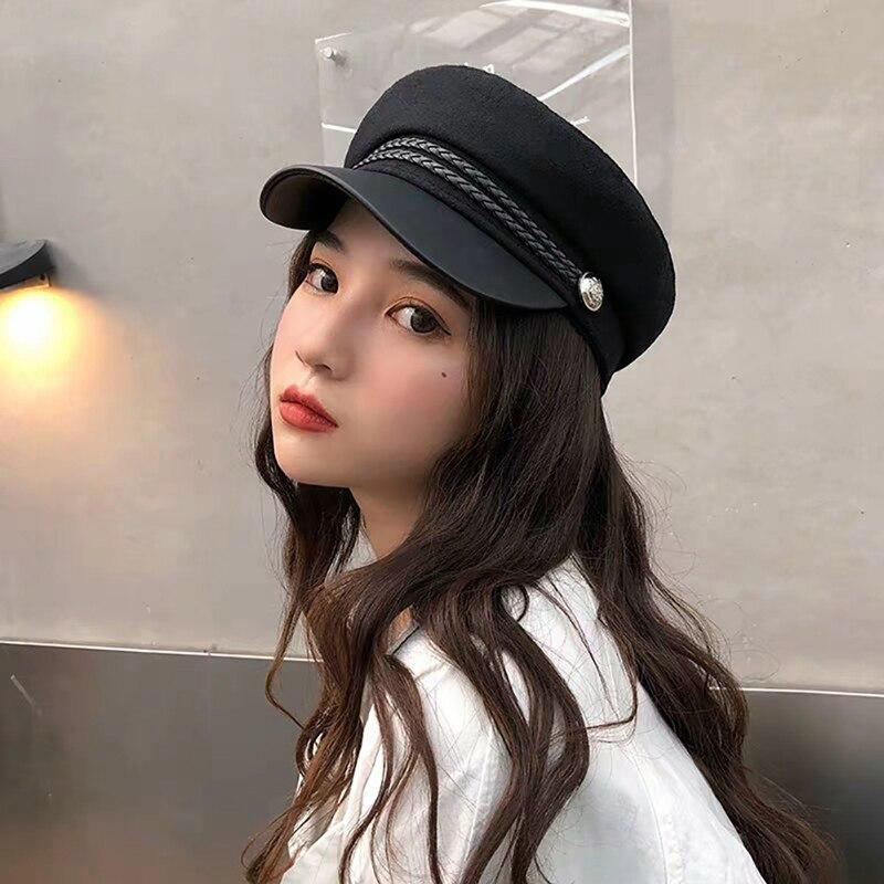 2020 Octagonal Women's Hats Flat Top Cap Strings Hinged Retro Button Sunshade Suede Cotton Hat Headwear Outdoor Accessories