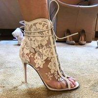 Summer Floral Lace Mesh Ankle Boots Thin High Heels Female Gladiator Peep toe Lace up Sandals Boots Women Wedding Shoes Botties