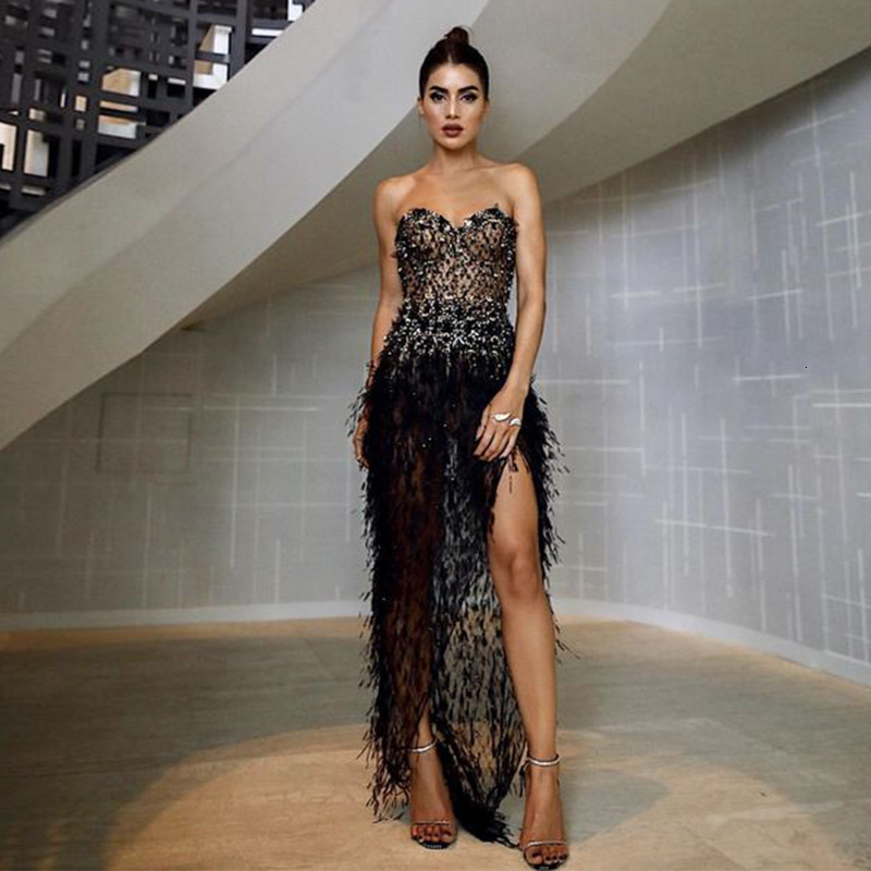 BacklakeGirls Sexy Sweetheart Neck Strapless Beaded Evening Dress Long Sleeveless Feather Prom Dress Robe Soiree Nouveaute 2019