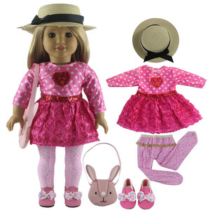 Image 2 - New 1 Set Pink Dress Doll Clothes for 18 American Bitty Baby Doll Handmade Fashion Lovely Clothes X89
