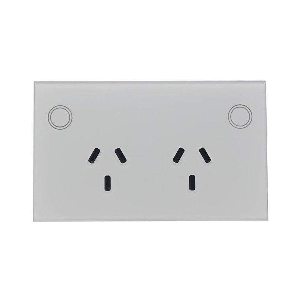 AU/US Touch Double GPO Glass Panel Power Point Wall Outlet Socket Switch 10AMP mobile phone control socket