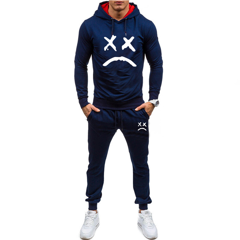 2019 Men Fashion Long Sleeve Hoodies+Pants Set Male Tracksuit Sport Suit Men's Gyms Set Casual Sportswear Suit