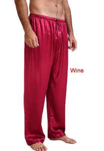 Pajamas Sleepwear Nightwear Long-Lounge-Pants Satin-Silk Harem Mens Casual Pilates Loose