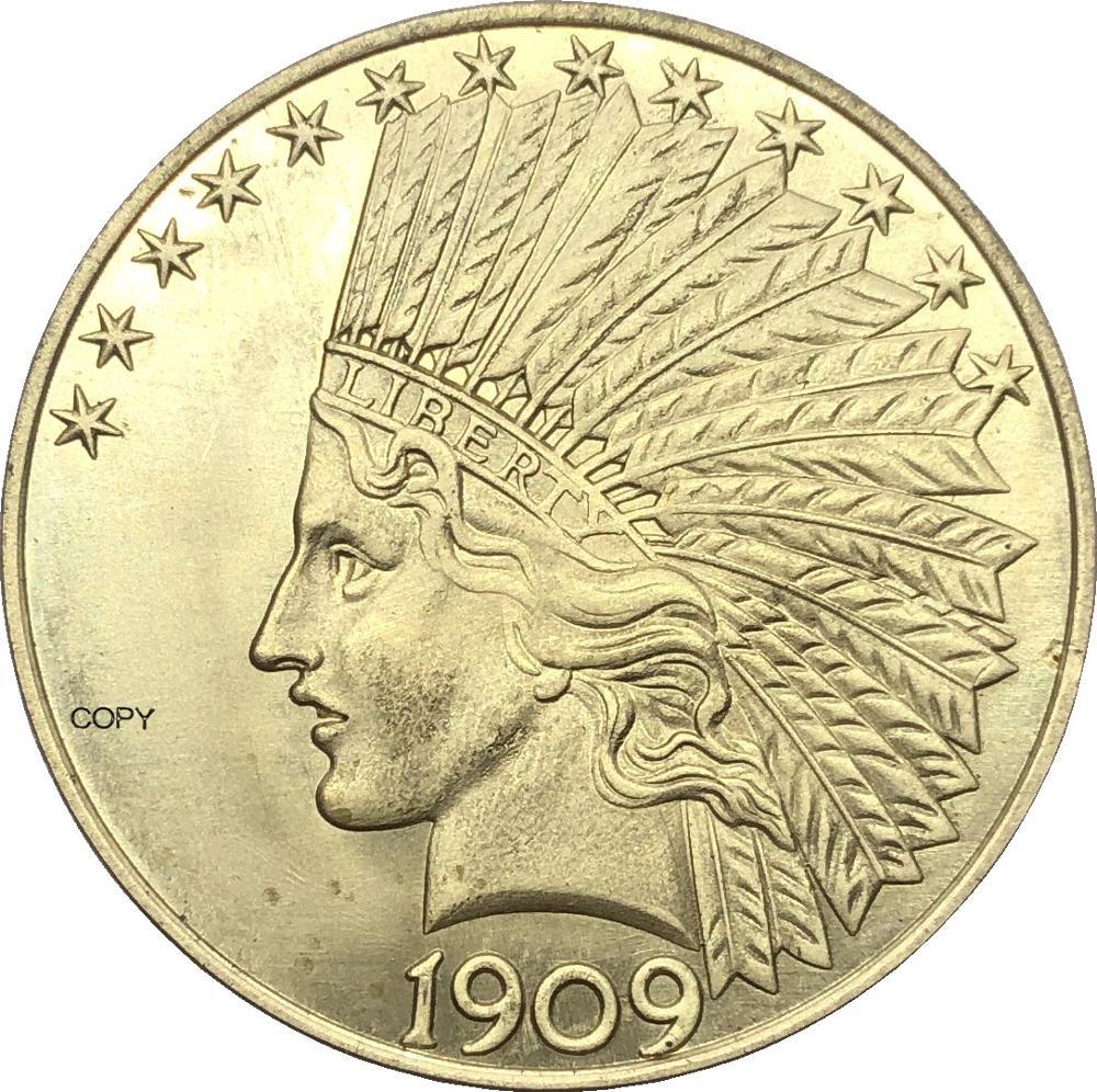 Estados unidos américa 1909 1909 s 1909 d dez eua 10 dólares liberdade cabeça indiana águia com lema ouro bronze metal cópia moeda