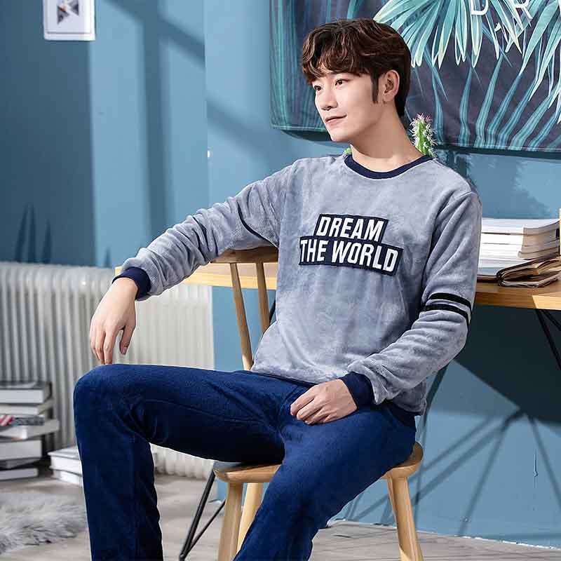 Special Price New Style Men's Pajamas Set Autumn Winter Warm Flannel Thicken Male Pajamas Sets Long Sleeve Sleepwear Top +Pant