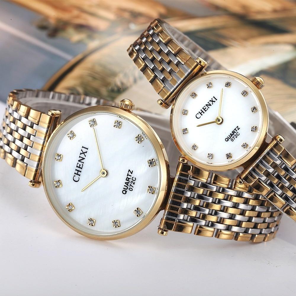 Top Brand CHENXI Lovers' Couples Quartz Luxury Men Valentine Gift Clock Watches With Ladies Unisex 30m Waterproof Wristwatch