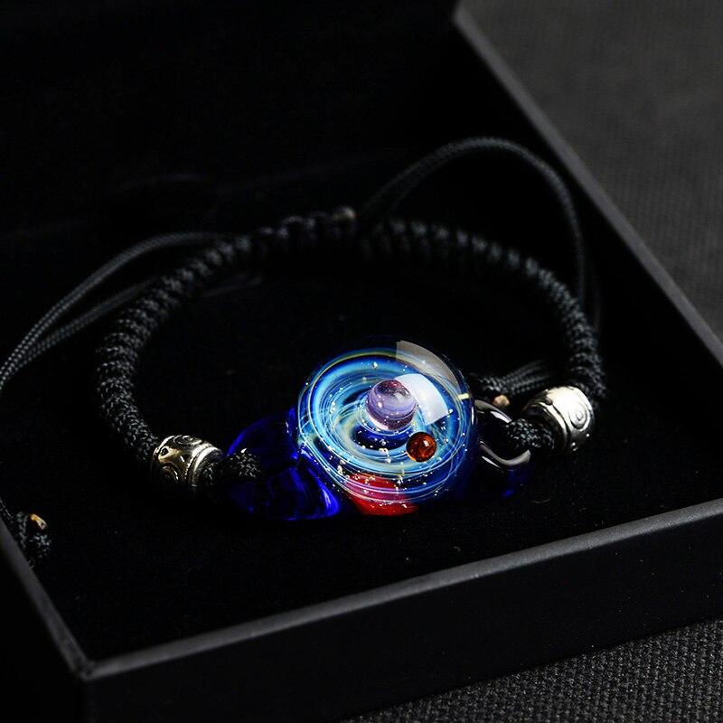 BOEYCJR, горячая Распродажа, Вселенная, планеты, стеклянные браслеты из бисера и браслеты, модные ювелирные изделия, галактика, солнечная система, браслет для женщин, Рождество - Окраска металла: 12