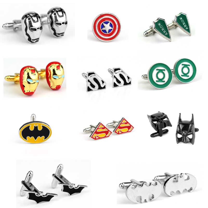 Hot DC comique Avengers Endgame boutons de manchette Ironman bouton de manchette Batman super-héros masque Captain America vert lanterne flèche boutons de manchette