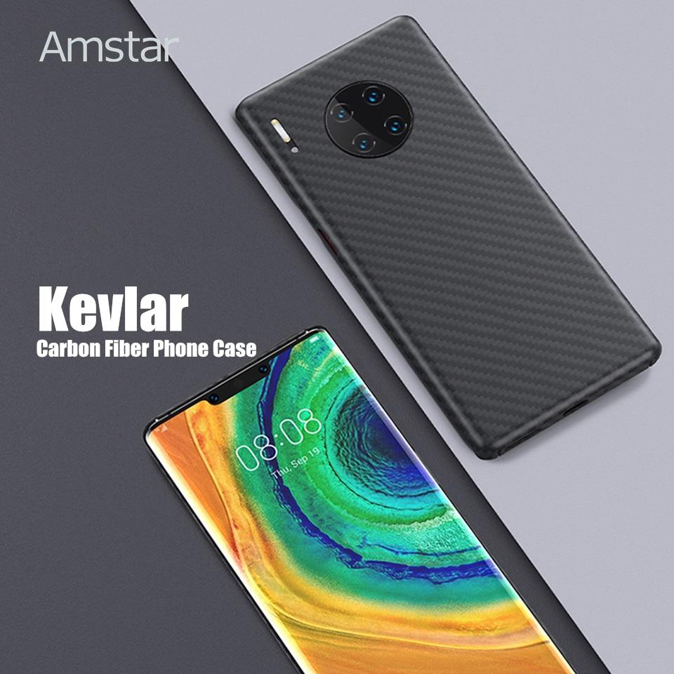 Amstar real caso de telefone de fibra de carbono ultra-fino anti-queda kevlar fibra de carbono capa para huawei p40 30 20 pro mate30 20 pro