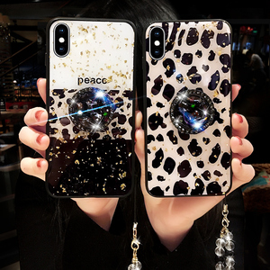 Luxury leopard print Stand Holder Phone Case For Samsung Galaxy S20 Plus Note10 Pro S10 S8 S9 Plus Bling Gold Foil Case 11Promax