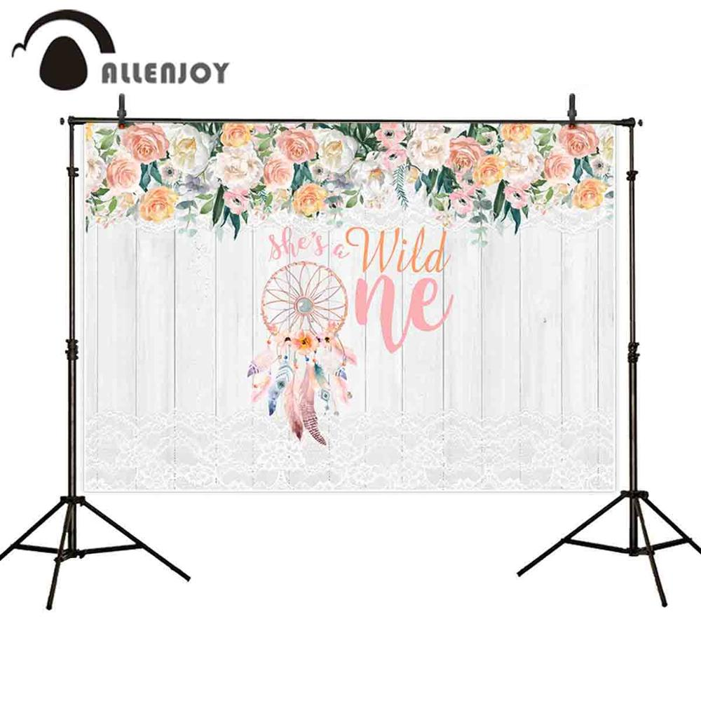 Allenjoy photo background 1st birthday wild one dreamcatcher flower wood lace photography backdrop photocall photophone prop