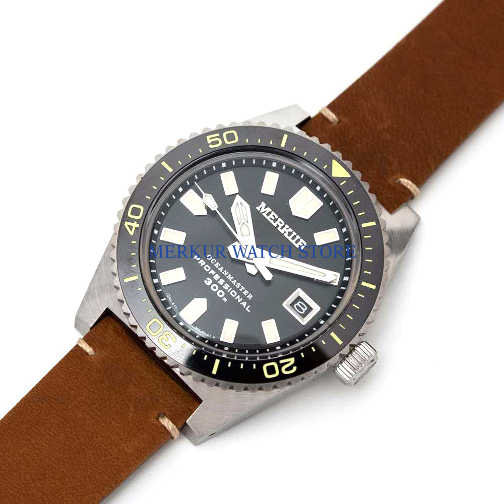 Black MERKUR Vintage 62MAS Automatic Watch Mens Diver watch Sapphire Ceramic 300M TURTLE TUNA CAN DIVER military Sport image