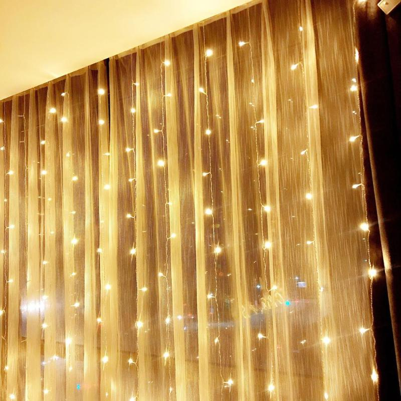 4.5M X 3M 300 LED Home Outdoor Christmas Decorative Wedding Xmas String Fairy Curtain Garlands Strip Party Lights