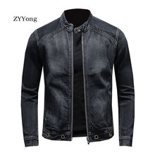 European Style Stand Collar Bomber Pilot Black Denim Jacket Men Jeans Coats Slim Motorcycle Casual Outwear Clothing Overcoat
