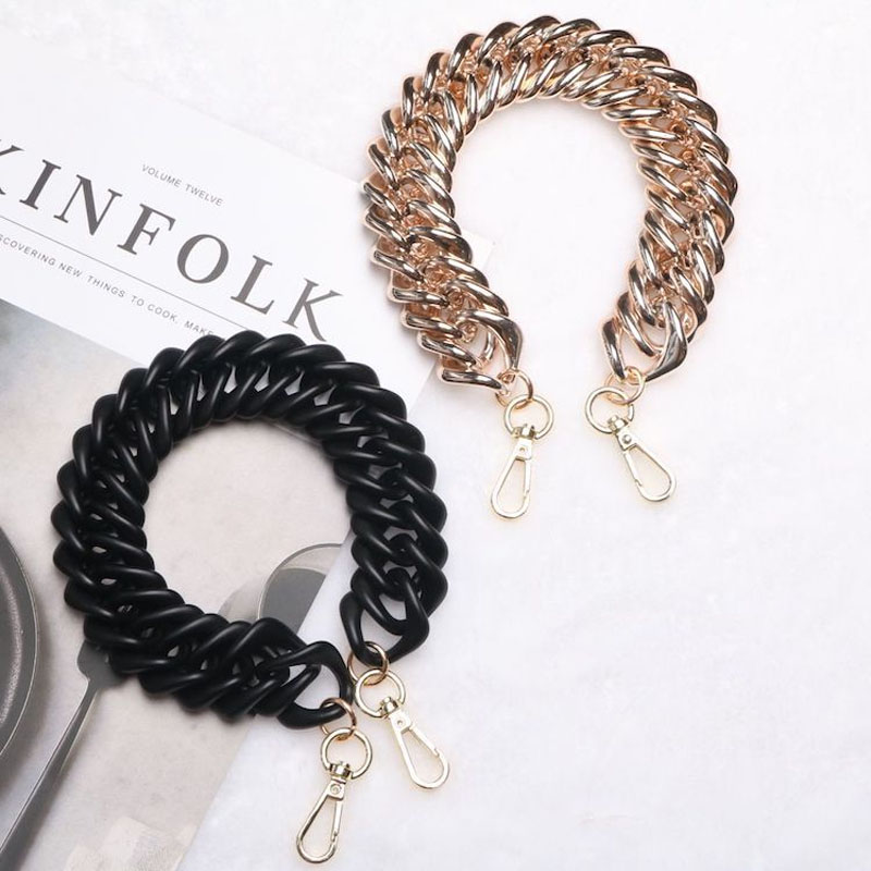 38cm Matte Dazzling Gold Multicolor Customizable Square Spiral Acrylic Chain Bag With Necklace Accessories