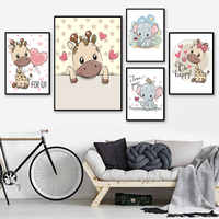 Cute Elephant and Hippopotamus Baby Canvas Painting Cartoon Animal Style Print Decor for Home for Kid's Room