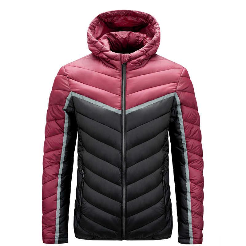 2020ฤดูหนาวใหม่Hooded Parkasเสื้อแจ็คเก็ตผู้ชายContrastสีCasualแฟชั่นกระเป๋าซิปผ้าฝ้ายเสื้อผู้ชายขนาดใหญ่เสื้อผ้า