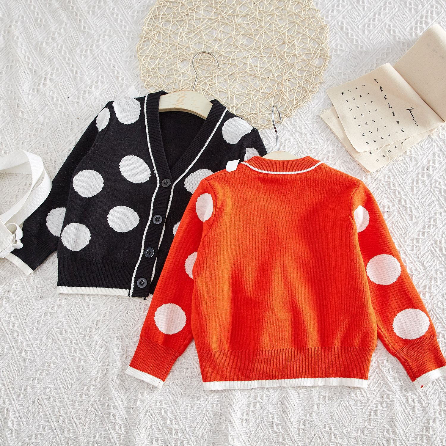 South Korea Childrenswear Parent-child Matching Outfit Mother-daughter Matching Outfit Polka Dot Cardigan V-neck Knit Western St