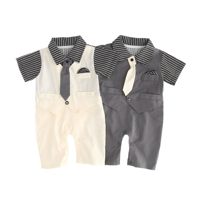 Комбинезон для маленьких мальчиков, хлопковый джентльменский костюм с галстуком, нежный формальный костюм в полоску с отложным воротником ...