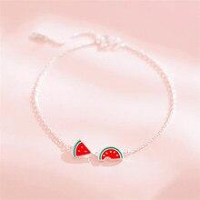 New Creative Simple Cute Watermelon Fashion 925 Sterling Silver Jewelry Personality Sweet Epoxy Fruit Bracelets SB181