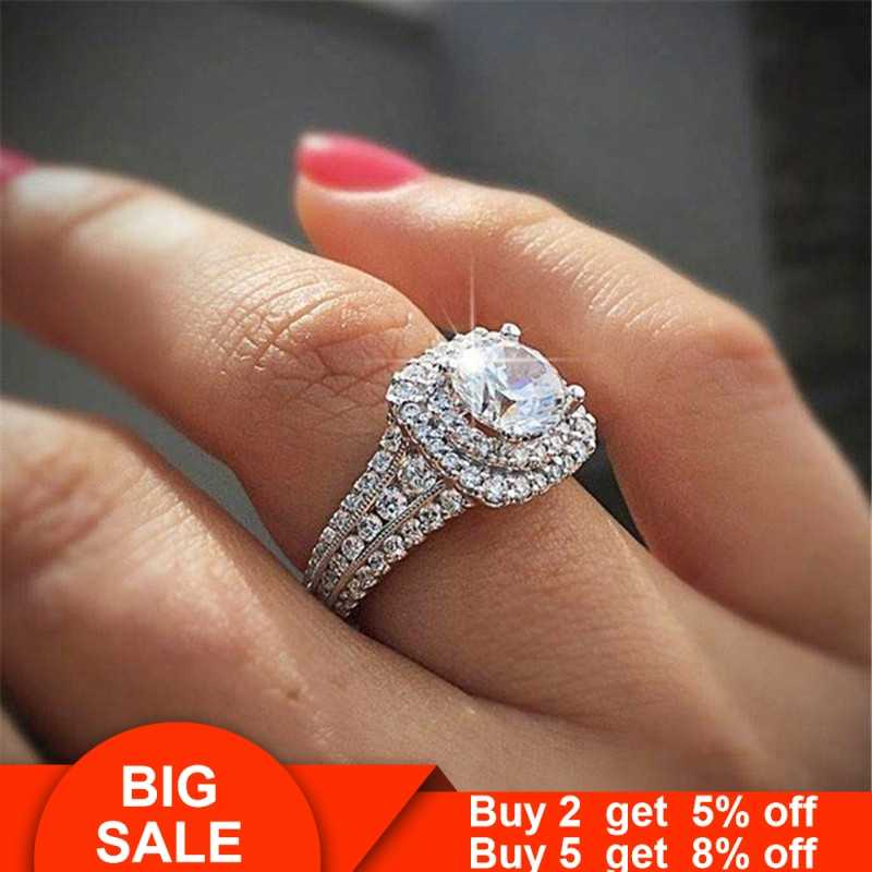 Luxury Promise ring 925 Sterling silver AAAAA cz Engagement Wedding Band Rings for women Bridal Finger Statement Jewelry