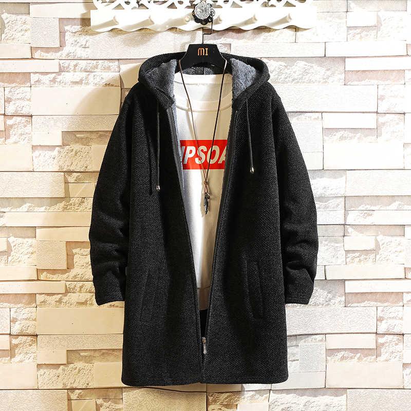 솔리드 컬러 새로운 2020 두꺼운 패션 브랜드 스웨터 망 카디 건 니트 따뜻한 가을 일본 디자인 의류 플러스 크기 M-3XL