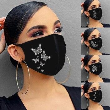 Fashion Mask Rhinestones Glitter Face Masks Uni Washable Breathable Ice Cotton Mouth Mask Outdoor Dustproof Mask mascarillas