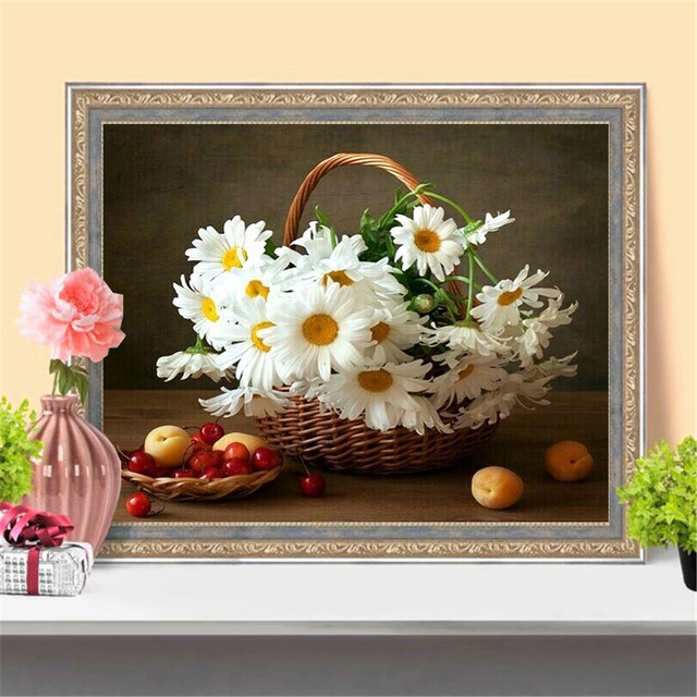 HUACAN 5D DIY Diamond Painting Cross Stitch Daisy Flower Full Drill Square Diamond Embroidery Mosaic Art