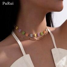 Femme coloré papillon colliers pour femmes bohême Chokers collier 2021 Bijoux collier court tour de cou esthétique Bijoux fête