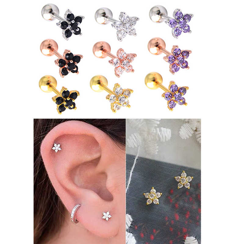 316l Stainless Steel Tunnel Jewelry Black Pink Purple Cz Ear Studs