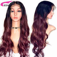 KRN 13x6 Lace Front Human Hair Wigs With Baby Hair 130 Density wavy ombre Brazilian Remy Hair Wigs Pre Plucked Hairline