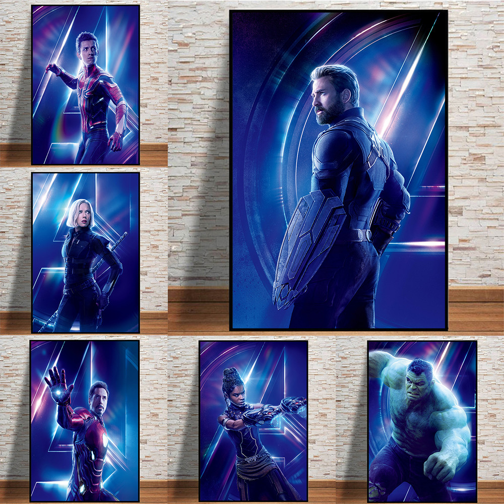 HD Avengers Movie Captain America Spiderman Oil Painting On Canvas Posters And Prints Cuadros Wall Art Pictures For Living Room image