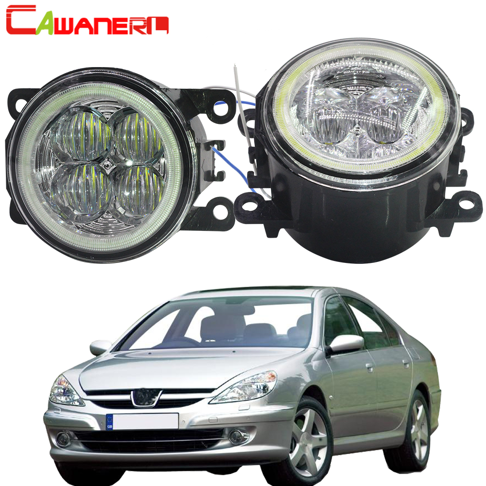 Cawanerl 2 X Car Styling LED Lamp Fog Light Angel Eye DRL Daytime Running Light 12V For 2000-2006 <font><b>Peugeot</b></font> <font><b>607</b></font> (9D, 9U) Saloon image