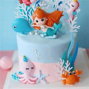 Image 3 - Ins 크라운 인어 장식 레이저 블루 Fishtail 케이크 토퍼 어린이 날 파티 용품 생일 디저트 귀여운 선물