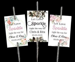 ABC-100 PCS Personalised Wedding Firework Tags , Sparkler /Glow Stick Tags - Let Love Sparkle(China)